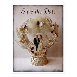 Postal del primero del pastel de bodas del vintage