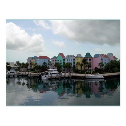 Postal del puerto deportivo de Nassau Bahamas
