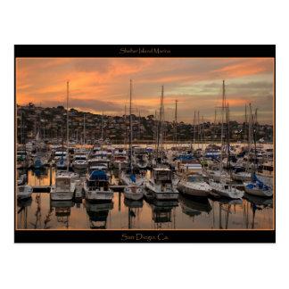Postal del puerto deportivo de San Diego