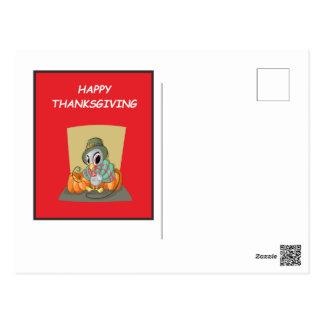 Postal del rojo de la acción de gracias