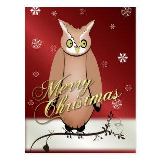 Postal del rojo del búho de las Felices Navidad