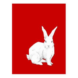 Postal del rojo del conejo