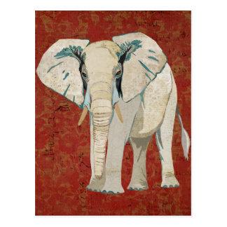 Postal del rojo del elefante blanco