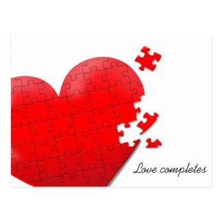 postal del rompecabezas del corazón del amor