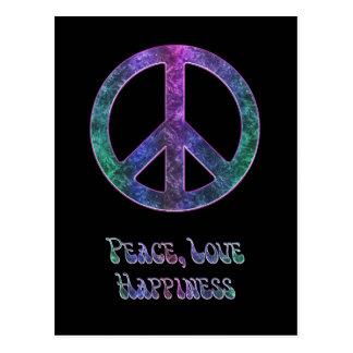 Postal del signo de la paz de la felicidad del