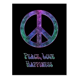 Postal del signo de la paz de la felicidad del amo