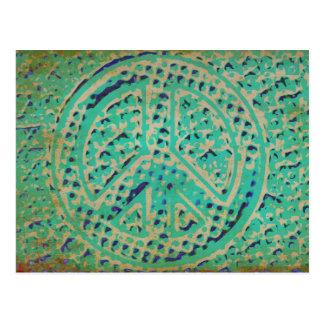 Postal del signo de la paz del Grunge