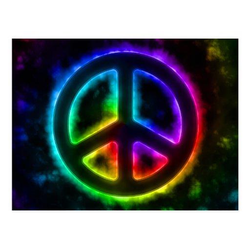Postal del signo de la paz del resplandor del arco