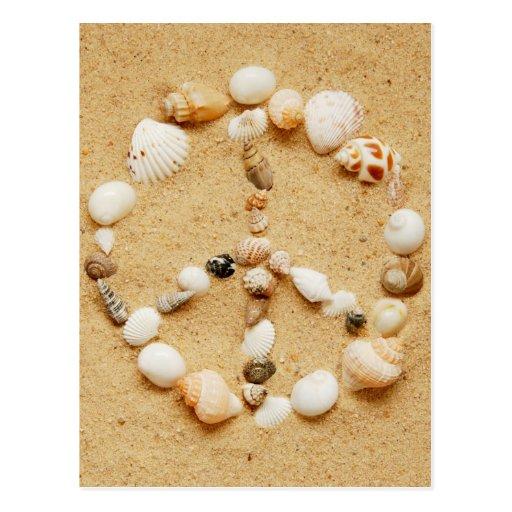 Postal del signo de la paz del Seashell