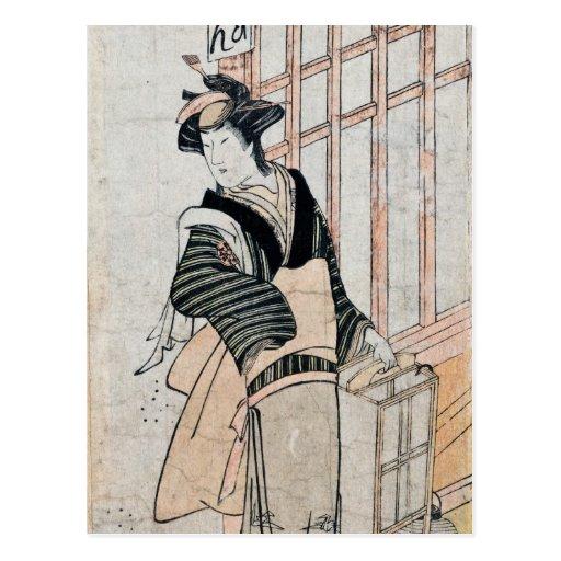 Postal del teatro de Kabuki del japonés