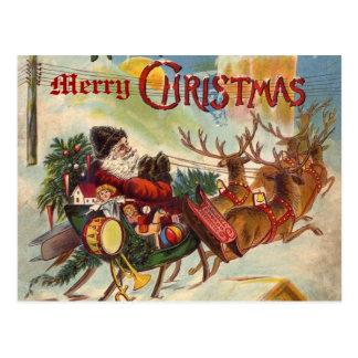 Postal del trineo del reno de Papá Noel del