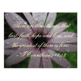 Postal del verso de la biblia de la esperanza y