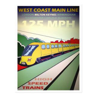 Postal del viaje del tren de alta velocidad