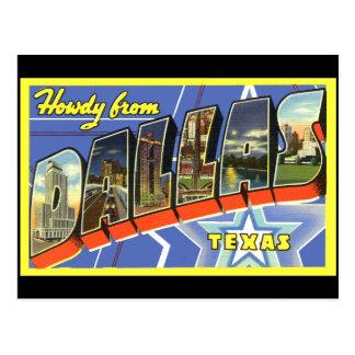 Postal del viaje del vintage de Dallas