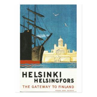 Postal del viaje del vintage de Helsinki,