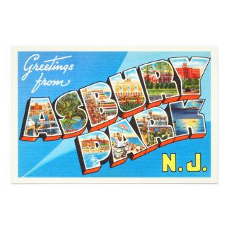 Postal del viaje del vintage de New Jersey NJ del Fotografias