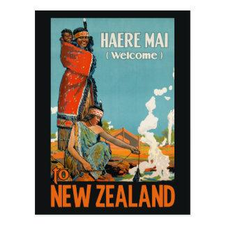 Postal del viaje del vintage de Nueva Zelanda