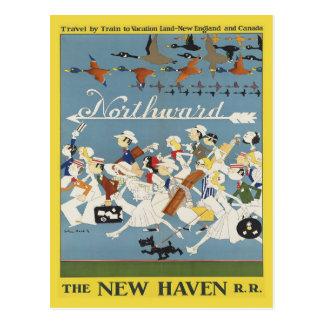 Postal del viaje del vintage para Nueva Inglaterra