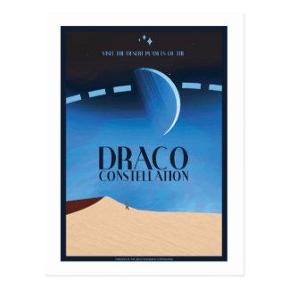 Postal del viaje espacial - constelación del Draco