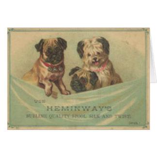 Postal del vintage con los perros lindos del libro tarjetas