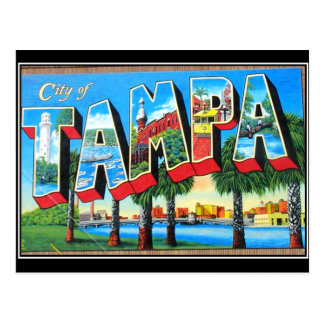 Postal del vintage de la ciudad de Tampa