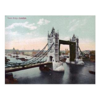 Postal del vintage de Londres del puente de la