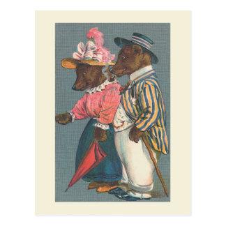 """Postal del vintage """"de los pares del oso"""""""