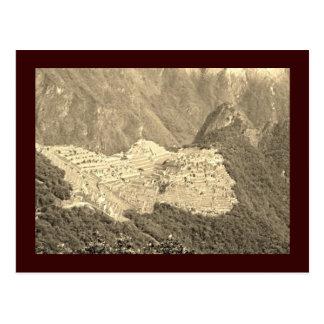 Postal del vintage de Machu Picchu