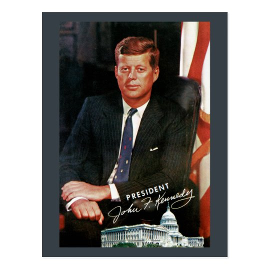 Postal del vintage de presidente John F. Kennedy