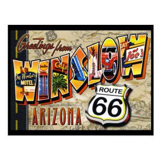 Postal del vintage de Winslow Arizona