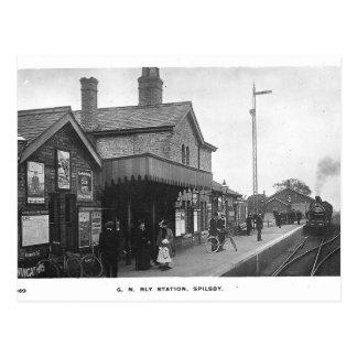 Postal del vintage del ferrocarril de Spilsby