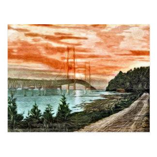 Postal del vintage del puente de Mackinac