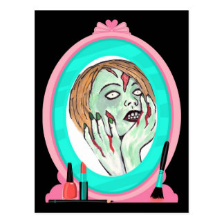 Postal del zombi de la cara de la torta