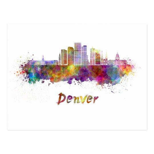 Postal Denver skyline in watercolor