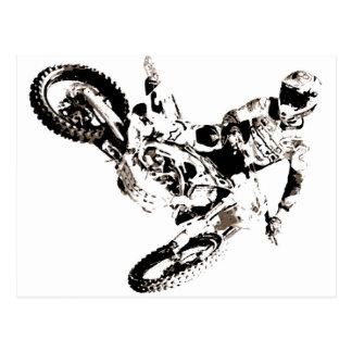 Postal Deporte de Motorcyle del motocrós del arte pop