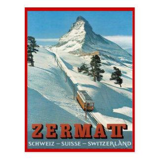 Postal Deportes de invierno del vintage, esquí Zermatt,