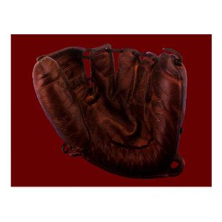 Postal Deportes del vintage, guante de béisbol de cuero