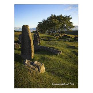 Postal derecha de las piedras de Dartmoor