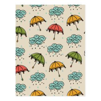 Postal Descensos lluviosos y paraguas del agua