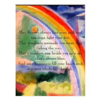 Postal Deseos del arco iris