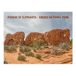 Postal Desfile de elefantes - parque nacional de los