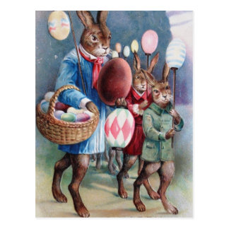 Postal Desfile del conejito de las linternas del huevo de
