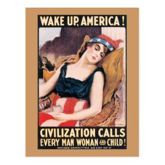Postal Despierte el poster de América WWI
