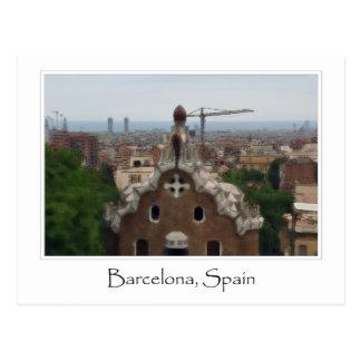 Postal Destino del turista de Barcelona España Parc Guell