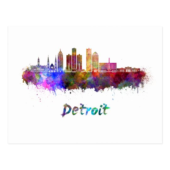 Postal Detroit skyline in watercolor