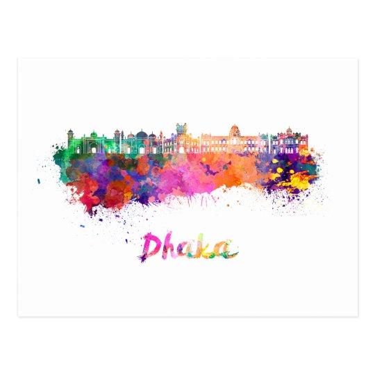 Postal Dhaka skyline in watercolor