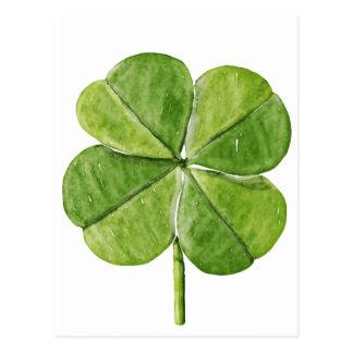 Postal Día afortunado verde de San Patricio del trébol