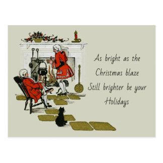 Postal Día de fiesta de la chimenea del navidad del