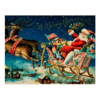 Postal Día de fiesta del navidad del trineo de Papá Noel
