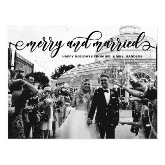 Postal Día de fiesta feliz y casado negro del boda de la